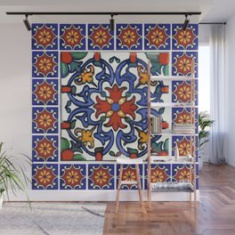 Talavera Mexican tile inspired bold design in blue, green, red, orange Wall Mural