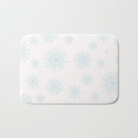 Assorted Light Blue Snowflakes On White Background Bath Mat