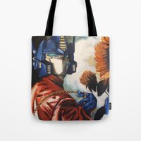 optimus prime Tote Bags featuring Optimus Prime With Sunflower by Hillary White