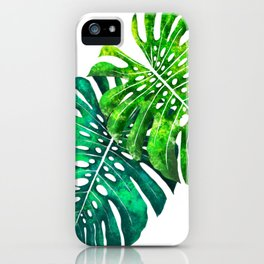 turquoise and green monstera iPhone Case