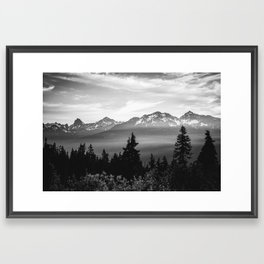 Morning in the Mountains Black and White Framed Art Print