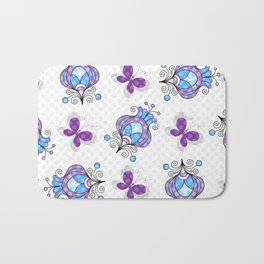 Colorful Butterflies and Flowers V21 Bath Mat