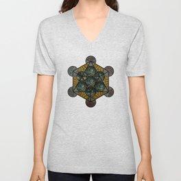 Platonic Solid Icosahedron - Aqua Unisex V-Neck