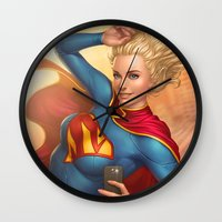 supergirl Wall Clocks featuring Supergirl by kody