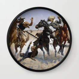 Frederic Remington - Aiding a Comrade Wall Clock