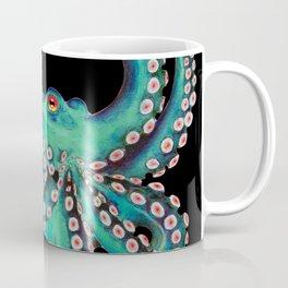 Octopus Tentacles Dance Teal Watercolor Ink Black Coffee Mug