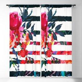 Bohemian pink orange blue black watercolor stripes floral Blackout Curtain