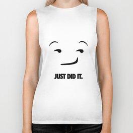 Just Did It Emoji. [Sport Slogan Parody] Biker Tank