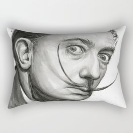 Salvador Dali Watercolor Portrait Rectangular Pillow