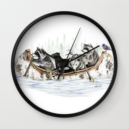 """"""" Critter Canoe """" wildlife rowing up river Wall Clock"""