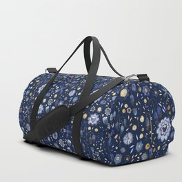 Indigo Flowers at Midnight Duffle Bag