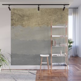 Geometrical ombre glacier gray gold watercolor Wall Mural