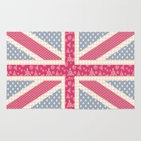 england Area & Throw Rugs featuring England Love by Pink Berry Patterns