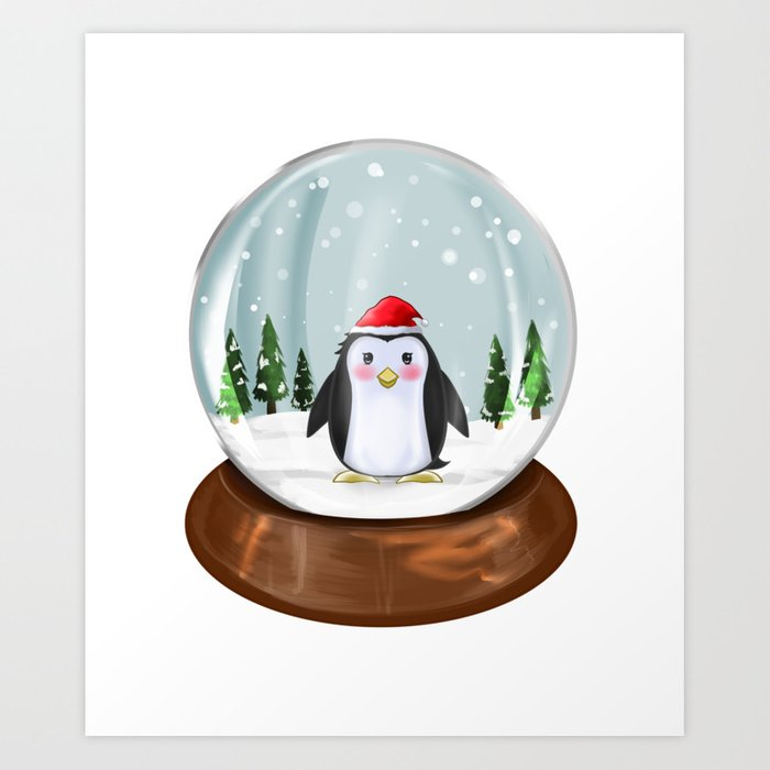Kawaii Christmas.Penguin Snow Globe Penguins Kawaii Christmas Gift Art Print By Xxsaibotxx