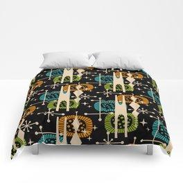 Retro Atomic Mid Century Pattern Black Orange Green and Turquoise Comforters