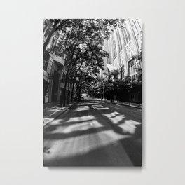 Shadows on Street Black and White Metal Print
