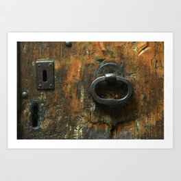 Old Wooden Door with Keyholes Art Print