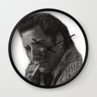 nicolas cage Wall Clocks featuring WILD AT HEART - NICOLAS CAGE by William Wong