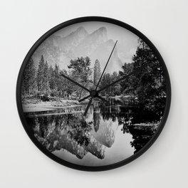 The Three Brothers, 3,818 feet, reflected, Yosemite, California by Carleton Watkins and Isaiah Taber Wall Clock