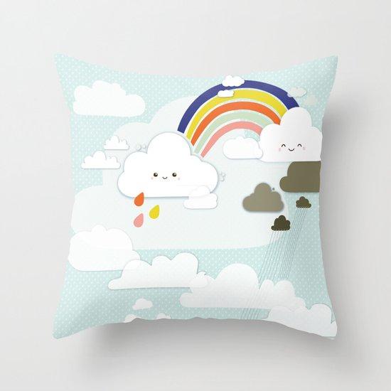 Cute clouds & rainbow Throw Pillow