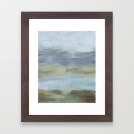 Sky Gray Blue Sage Green Abstract Wall Art, Painting Art, Lake Nature Painting Print, Modern Framed Art Print