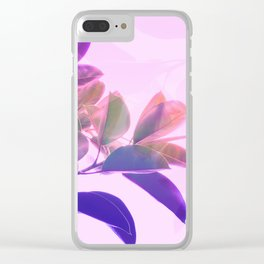 Elegant Tropical Rubber Foliage 1 - Pink and purple Clear iPhone Case