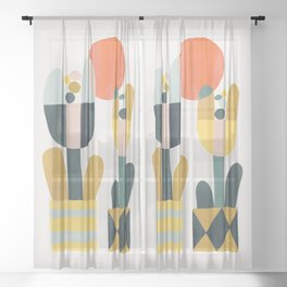 Two flowers Sheer Curtain