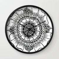 henna Wall Clocks featuring Flower henna  by Designs by NN