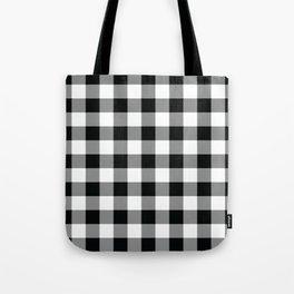 Buffalo Check Black White Plaid Pattern Tote Bag