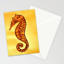 Seahorse in Yellow and Brown Stationery Cards