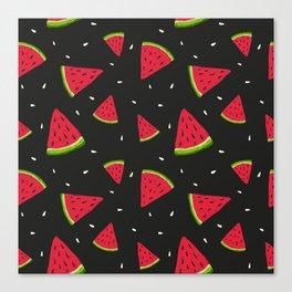Watermelons in tha dark Canvas Print