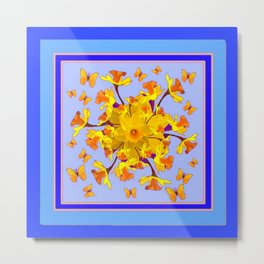 Blue Butterfly & yellow Daffodils Pattern Metal Print