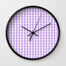 Lilac and White Gingham Check Wall Clock