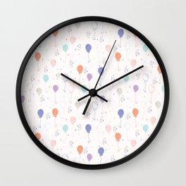 Pastel Party Balloon Vector Pattern Seamless Wall Clock