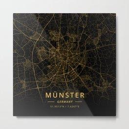 Munster, Germany - Gold Metal Print