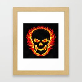 Flame Skull Framed Art Print