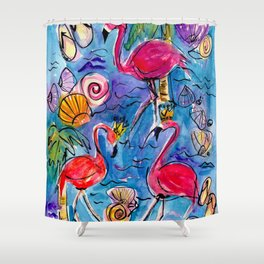 Flip Flops and Flamingos Shower Curtain