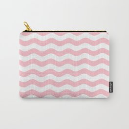 Wavy Stripes (Pink/White) Carry-All Pouch