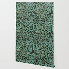 Aqua Flowers Tooled Leather Wallpaper