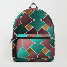 Gold teal rose gold geometric abstract pattern Backpack