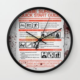 Zombie Survival Quick Start Guide Wall Clock
