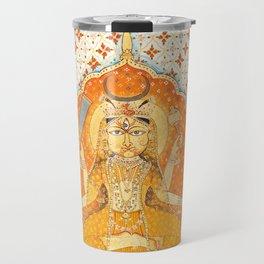 Devi enshrined and holding the tongue of a demon - Vintage Indian art print Travel Mug