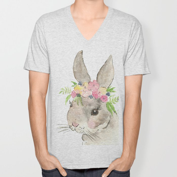 Bunny with flower crown watercolor Unisex V-Neck