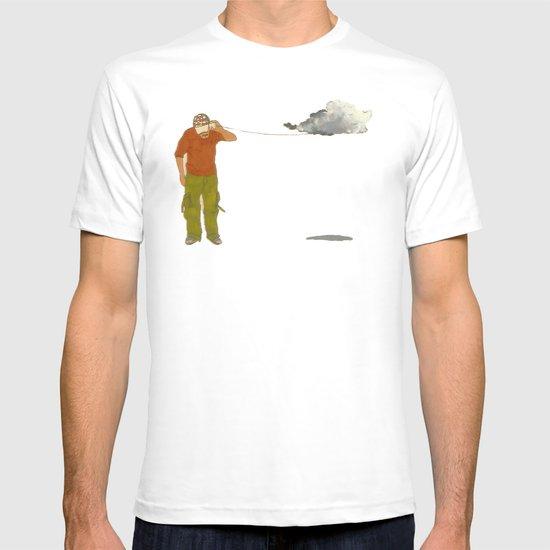 man listening to a cloud T-shirt