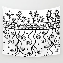 Strong Roots for Growth - Black and White Wall Tapestry