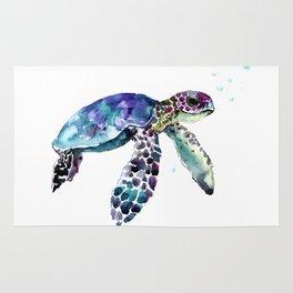 Sea Turtle, Baby Turtle animal artwork for children Rug