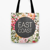 tupac Tote Bags featuring East Coast by Text Guy