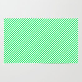 Lanai Lime Green - Acid Green and White Candy Cane Stripe Rug