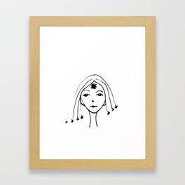 the girl with stars in her hair Framed Art Print