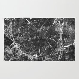 Black and White Marble Granite Rug